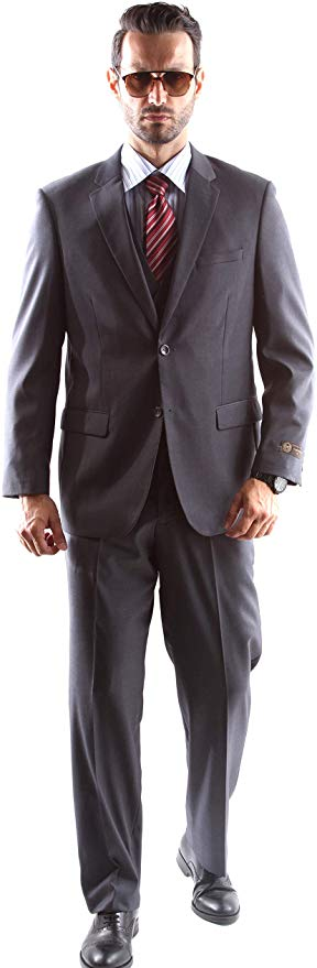 Caravelli Men's Super 150's Poly/Viscose Wool Feel Single Breasted 2 Button Slim Fit 2pc Suit Style S600512H in Gray 506