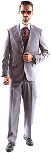 Caravelli Men's Super 150's Poly/Viscose Wool Feel Single Breasted 2 Button Slim Fit 2pc Suit Style S600512H in Lt Gray 538