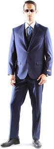 Caravelli Men's Super 150's Poly/Viscose Wool Feel Single Breasted 2 Button Slim Fit 2pc Suit Style S600512H in Midnight Blue 560