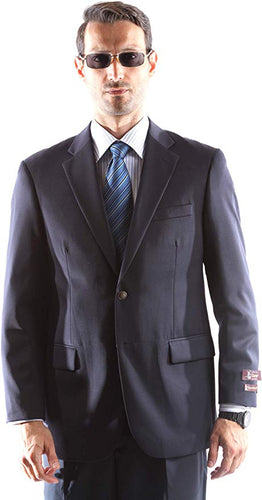 Cianni Men's Single Breasted 2 Button 100% Super Wool Gabardine Blazer Style J400112C in Navy 103 (free shipping)