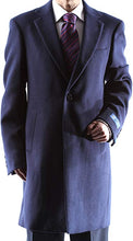 "Load image into Gallery viewer, Caravelli Men's Poly/viscose/spandex Single Breasted 2 Button 3/4 Length Topcoat (42R 37.5"" Length) Style L600912E in Navy 903"