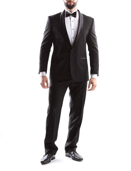 Bellio Men's Single Breasted 2 Button Shawl Lapel Slim Fit Tuxedo 2pc Suit in Black Style BL301