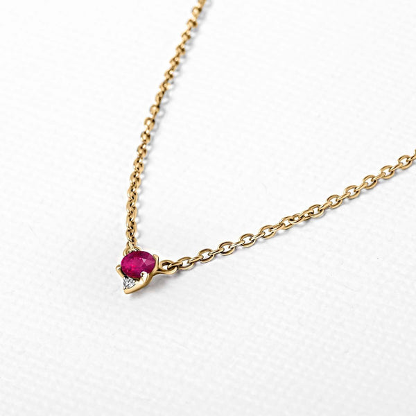 Collier rubis diamant en or vermeil