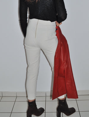Super Chic Vintage High-Waist Slim-Fit Trousers In White