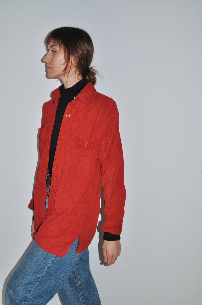 Vintage Suede Button-Up Shirt In Red