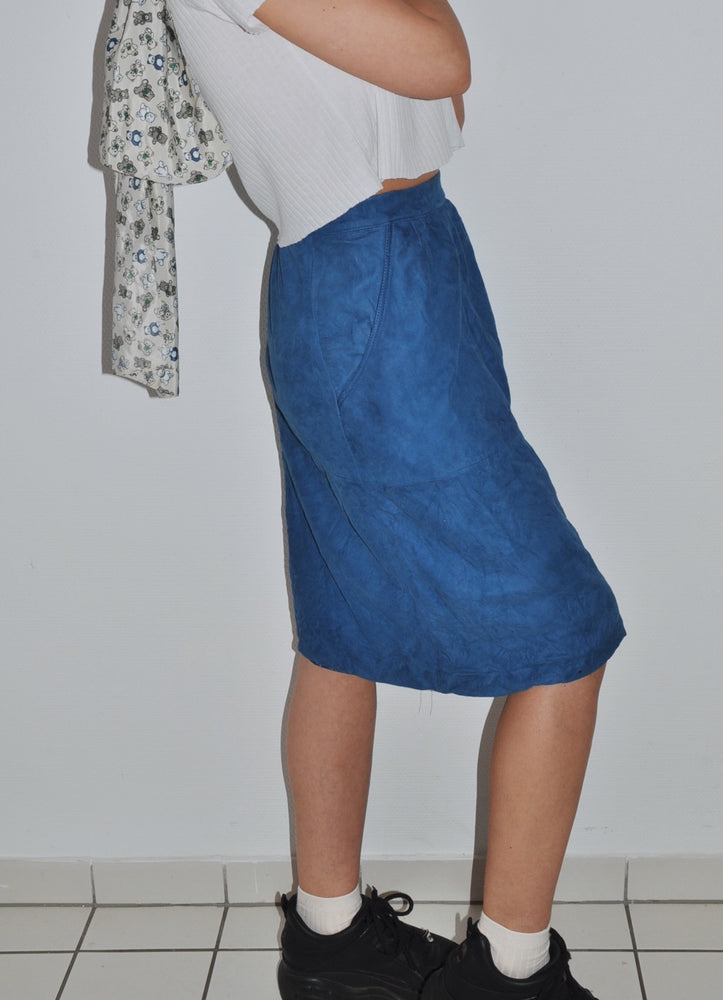 Vintage Suede Leather High-Waist Midi-Skirt In Blue