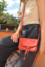 Vintage- Boho Style- Cross Body- Bag in Red - Goodleafvintage