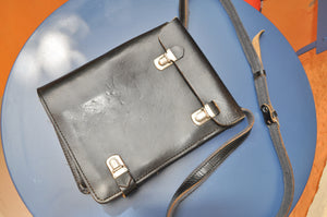 Vintage Train Conductor Leather Shoulder Bag from the 70s