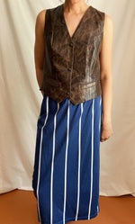 High-Waist Pin-Striped Skirt In Blue & White