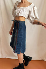 Y2k Denim Skirt With Red Trimmings