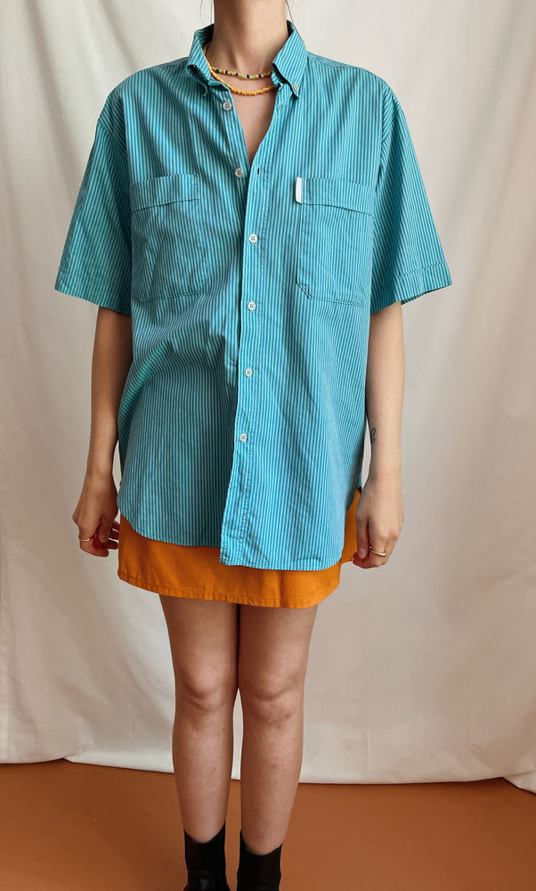 90s Turquoise Striped Adidas Shirt