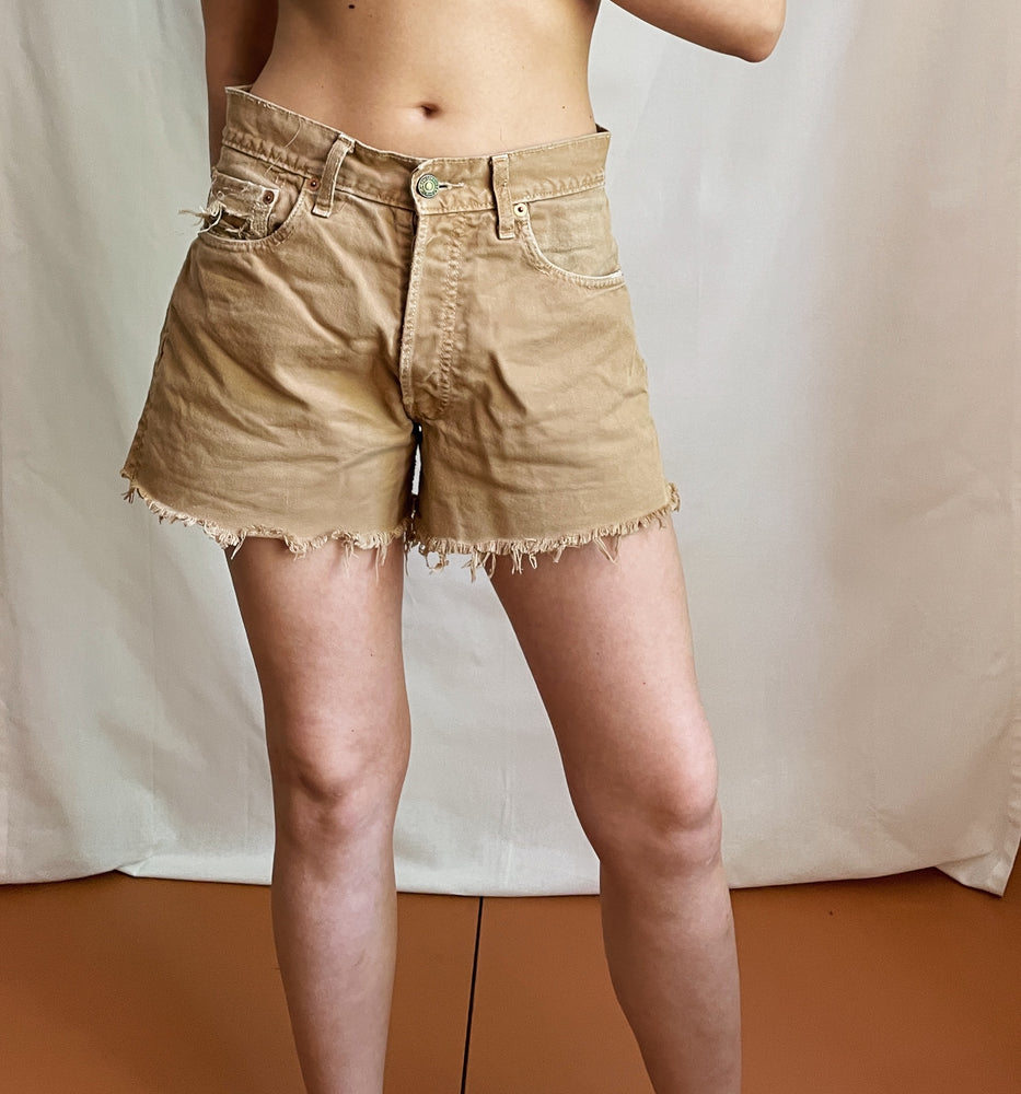 Camel Colour Denim Shorts From Levi's