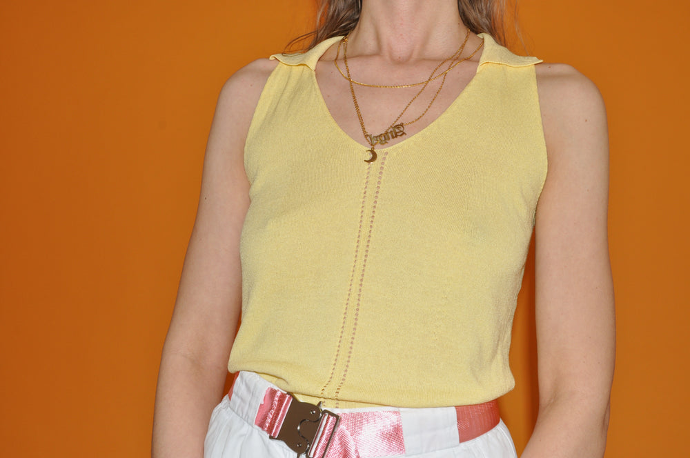90's Style- Lemon Yellow- Top - Goodleafvintage