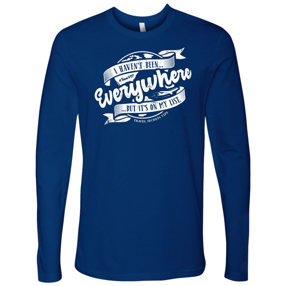 I Haven't Been Everywhere But It's On My List (Long Sleeve) T-shirt teelaunch Long Sleeve (No Cuffs) Blue S