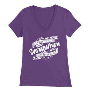I Haven't Been Everywhere But It's On My List (V-Neck) T-shirt teelaunch Bella Womens V-Neck Purple S