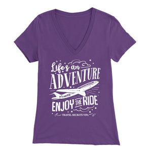 Life's An Adventure Enjoy The Ride (V-Neck) T-shirt teelaunch Bella Womens V-Neck Purple S