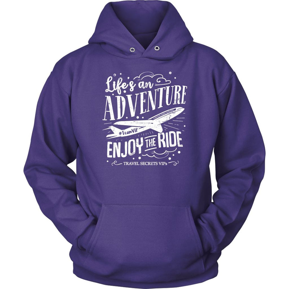 Life's An Adventure Enjoy The Ride (Hoodie) T-shirt teelaunch Unisex Hoodie Purple S
