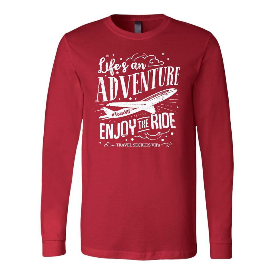 Life's an Adventure Enjoy the Ride (Long Sleeve) T-shirt teelaunch Long Sleeve (Cuffs) Red S