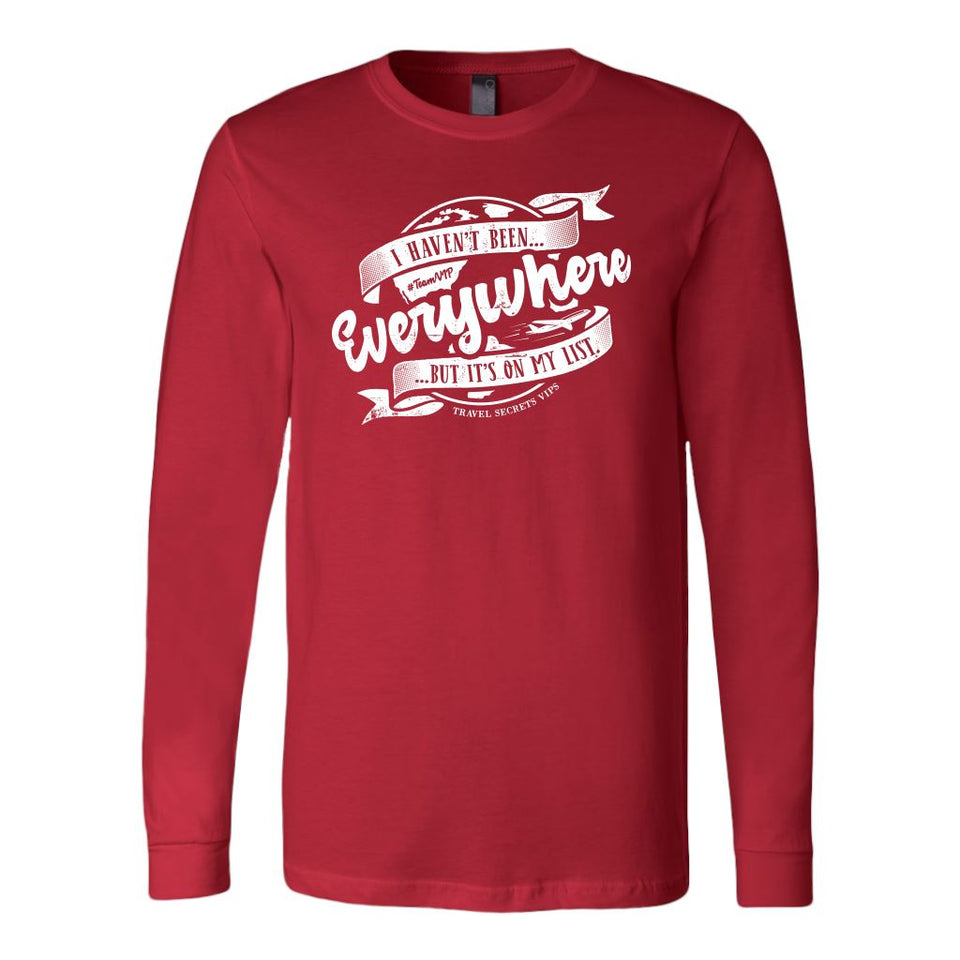 I Haven't Been Everywhere But It's On My List (Long Sleeve) T-shirt teelaunch Long Sleeve (Cuffs) Red S