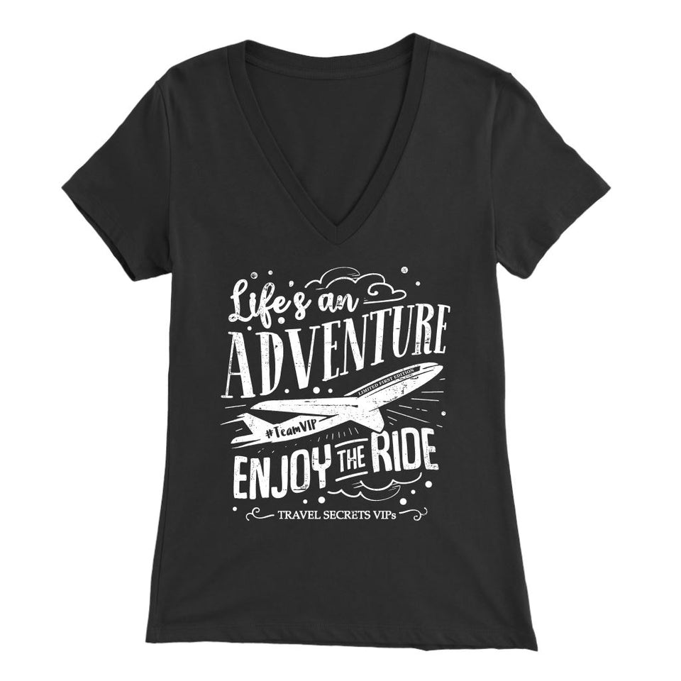 Life's An Adventure Enjoy The Ride (V-Neck) T-shirt teelaunch Bella Womens V-Neck Black S
