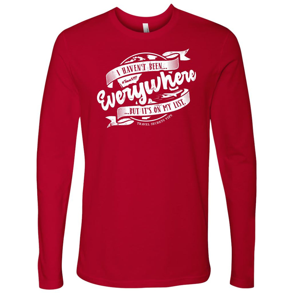 I Haven't Been Everywhere But It's On My List (Long Sleeve) T-shirt teelaunch Long Sleeve (No Cuffs) Red S