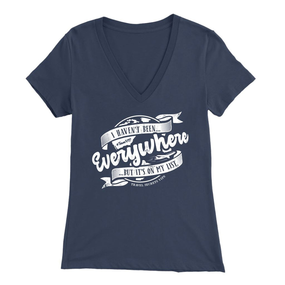 I Haven't Been Everywhere But It's On My List (V-Neck) T-shirt teelaunch Bella Womens V-Neck Navy S