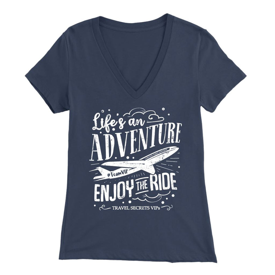 Life's An Adventure Enjoy The Ride (V-Neck) T-shirt teelaunch Bella Womens V-Neck Navy S