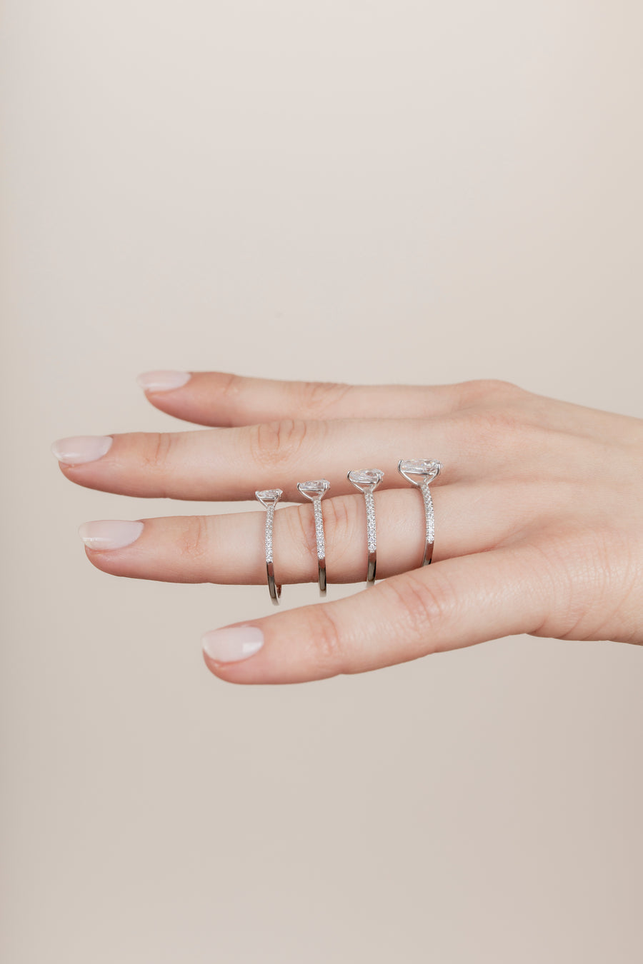 The Pear Solitaire with Pavé band