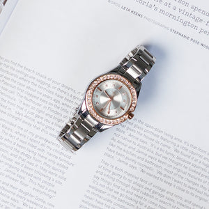 """Crystal Radiance"" Women's Rose Gold and Silver Jeweled Watch - Nathan Lee Online"