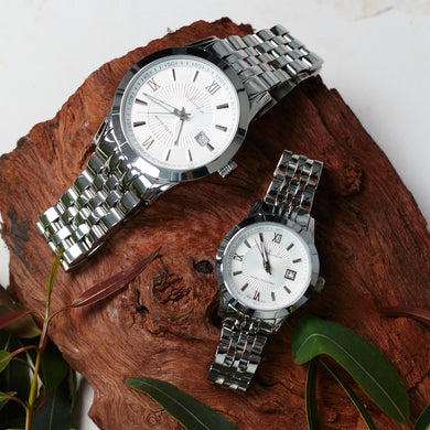 "Classic Silver Formal Couple's Watch Set ""Heart & Steel"" with Men's and Women's Watches - Nathan Lee Online"
