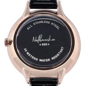 """Black Empress"" Black and Rose Gold Women's Fashion Watch with Gems - Nathan Lee Online"