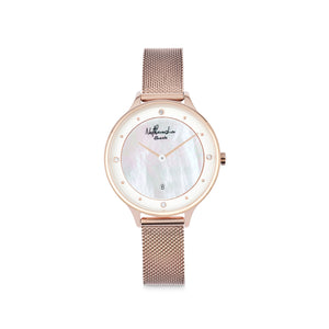 "Everyday Rose Gold Women's Watch ""Golden Rose"" with Jewels and Mother of Pearl - Nathan Lee Online"