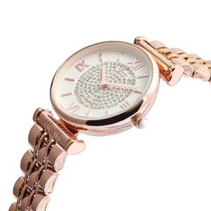 """Jewel Queen"" Rose Gold Roman Numeral Women's Watch with Jeweled Watch Face - Nathan Lee Online"