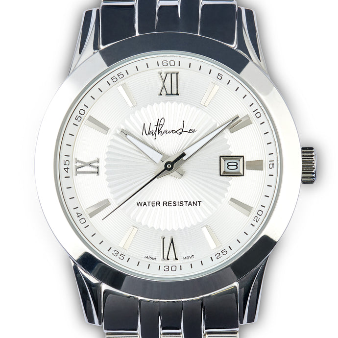 "Classic Silver Men's Watch ""Mystery Steel"" with Roman Numerals on the Watchface - Nathan Lee Online"
