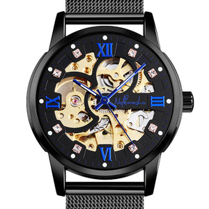 """Blue Diamond"" Men's Fine Luxury Mechanical Automatic Stainless Steel Watch - Nathan Lee Online"