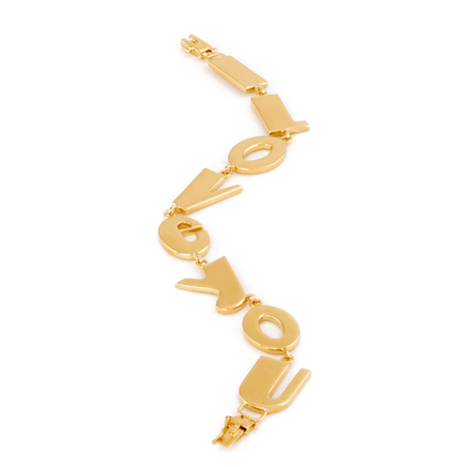 Solid yellow gold I Love You Bracelet