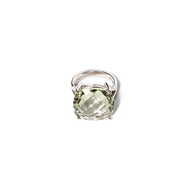 Prasiolite white gold Ring