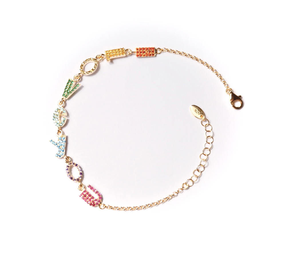 Gold plated I love you petite bracelet rainbow