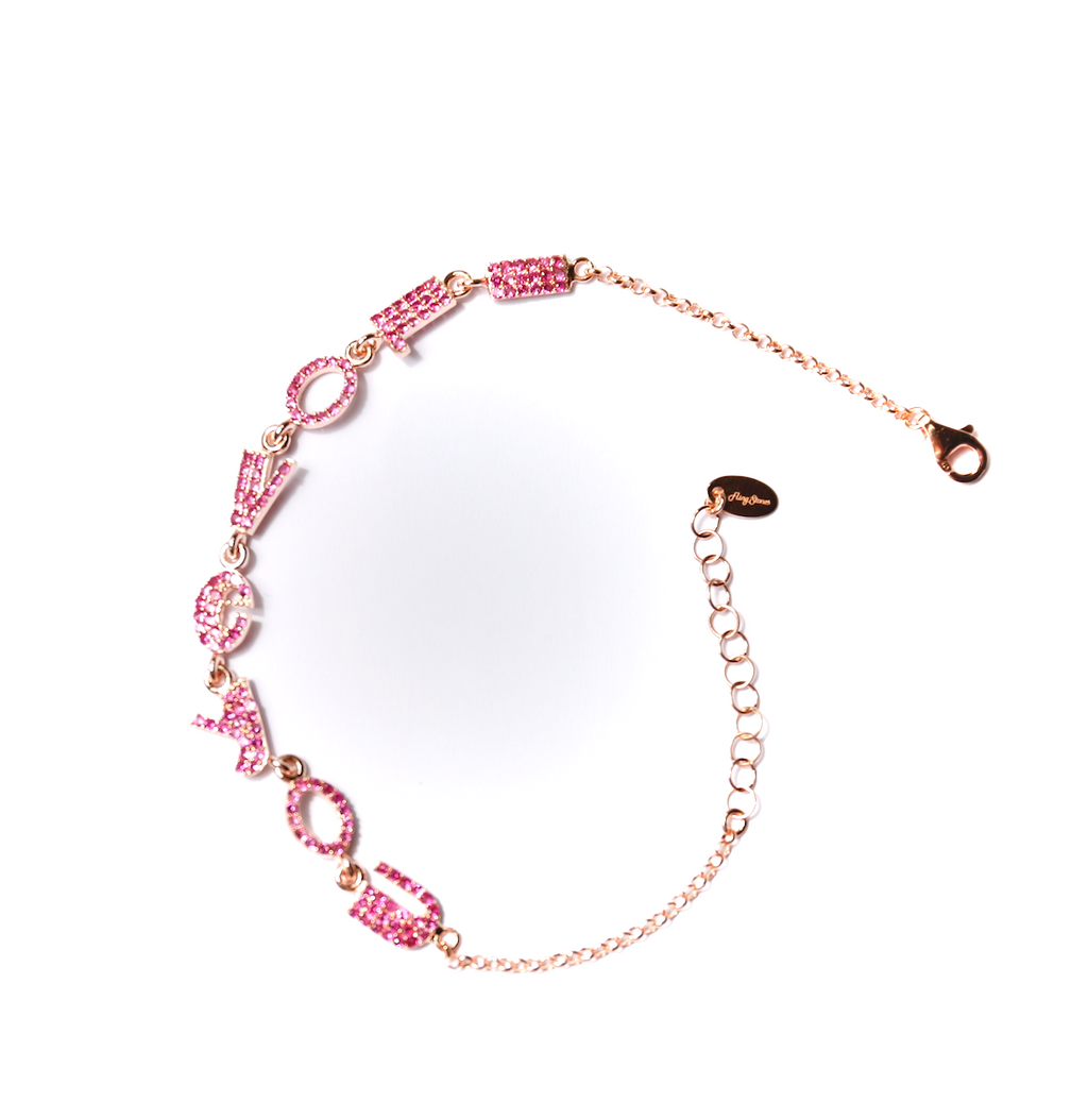 Pink Plated I love You Pink Stones Petite
