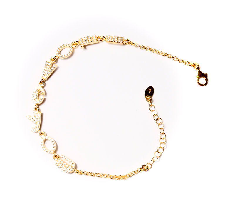 Gold plated I Love You Bracelet Stones Petite