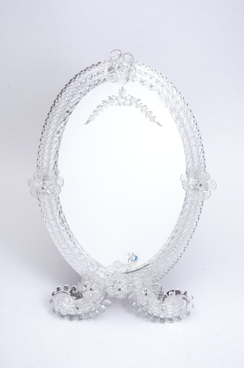 Flower Pattern Mirror Oval