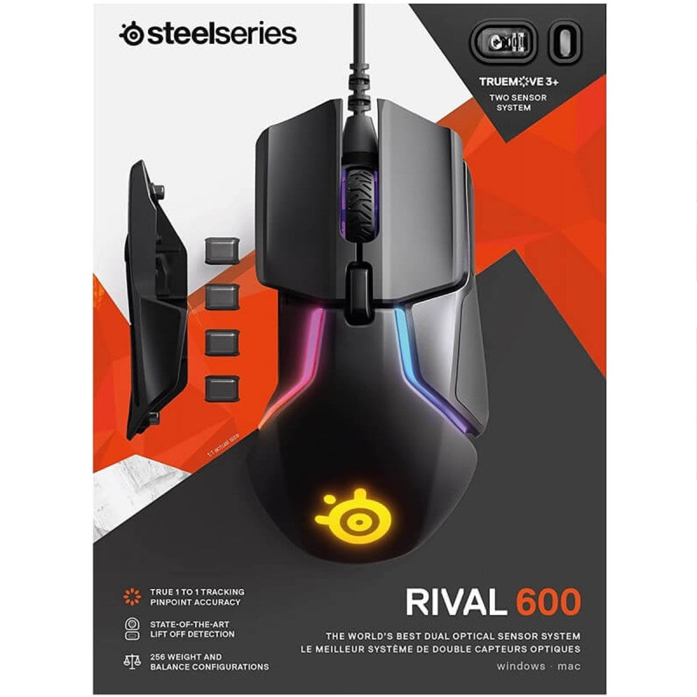 SteelSeries Rival 600 Dual Sensor RGB Gaming Mouse