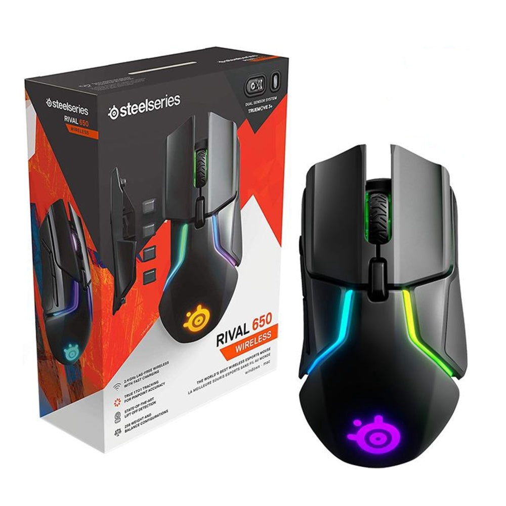 SteelSeries Rival 650 Wireless Dual Sensor RGB Gaming Mouse