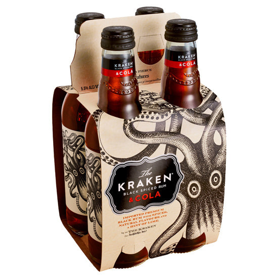 KRAKEN BLACK SPICED RUN & COLA 5.5% 4x330ML BOTTLES