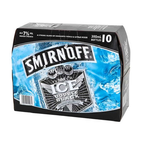 SMIRNOFF DOUBLE BLACK 7% 10PK BTLS 300ML - THIRSTY LIQUOR HILLCREST