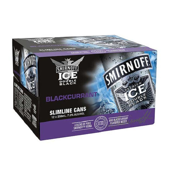 SMIRNOFF DB BLACKCURRENT 7% 12PK CANS 250ML - THIRSTY LIQUOR HILLCREST