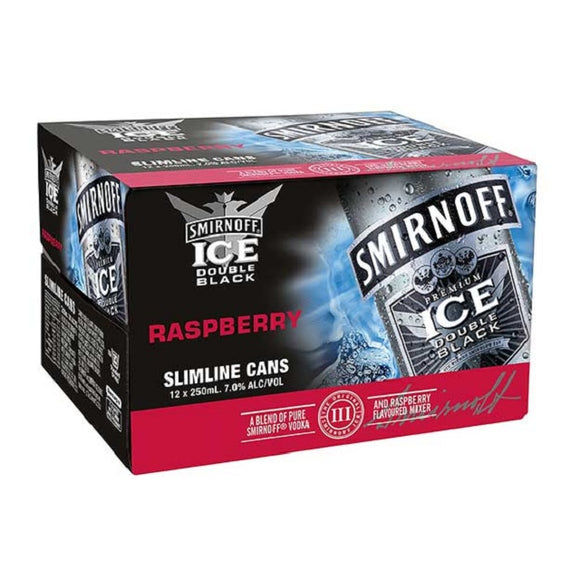 SMIRNOFF DB RASPBERRY 7% 12PK CANS 250ML - Thirsty Liquor Hillcrest
