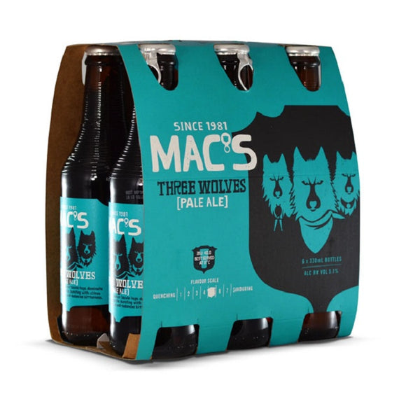 MACS 3 WOLVES PALE ALE 6PK BTLS 330ML - Thirsty Liquor Hillcrest