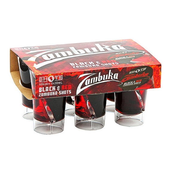 SHOTS ZAMBUCA BLACK & RED 6PK 30ML - Thirsty Liquor Hillcrest
