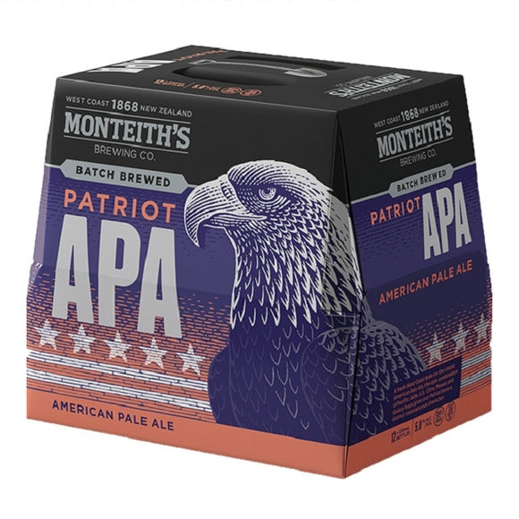 MONTEITHS PATRIOT APA 12PK BOTTLES 330ML - Thirsty Liquor Hillcrest